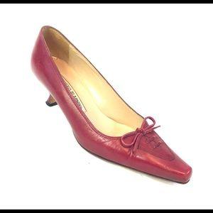 Manolo Blahnik Red Pointed Toe High Heels